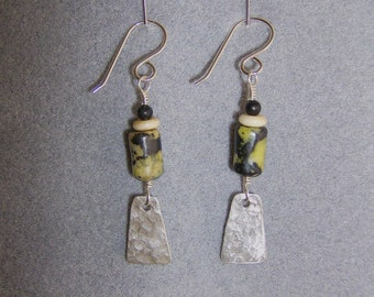 Earth Magic -  Hammered Silver Earrings with Serpentine,Bone and Picasso Marble Beads