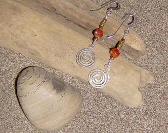 FireLight-  Hammered Silver Spiral Earrings with Copper, Brass & Fire Agate Beads