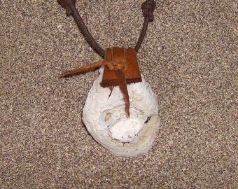 Resting Place - Shell Amulet with a Brown Leather Bail