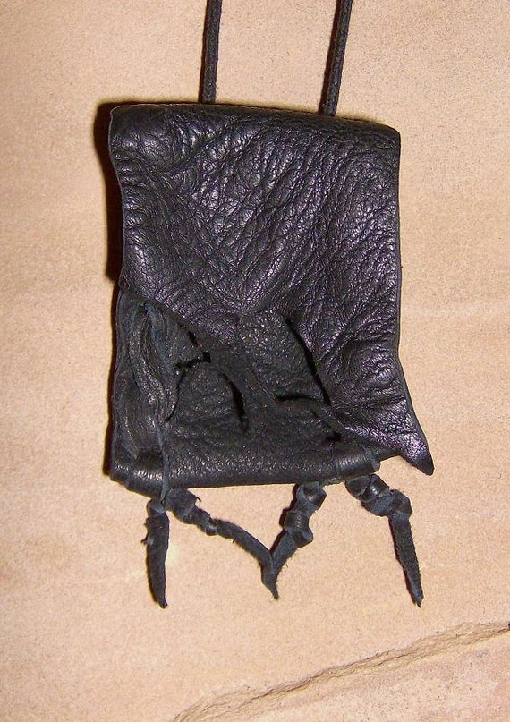 Vulture- This Wisdom Pouch is made out of Black deerskin leather and comes to you on a black cotton slip knotted cord