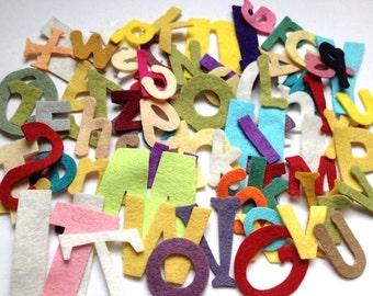 Wool Felt Die Cut Alphabet Letters 78 - Random Size and Colored. 2614 Stock image* - felt letters - felt words - die cut letters