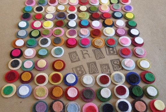 "200 total- 100 - 1/2"" & 100 - 3/4"" Random Colored Wool Felt Circles. 287"
