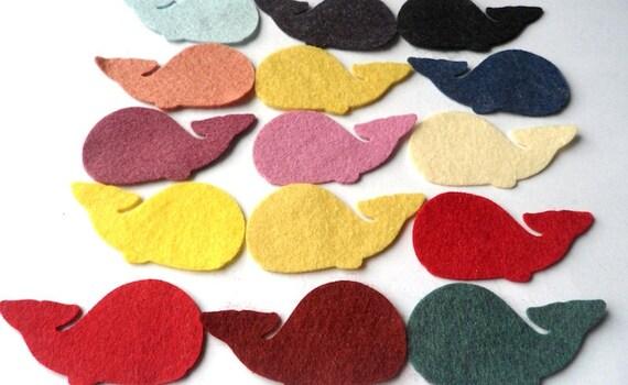 Wool Felt Whale Die Cuts 15 Count - Random Colored 1028