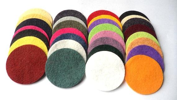 Wool Felt Circles 30 - 1 3/4 inch Random Colored. 1037