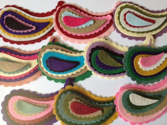 "Wool Felt Paisleys 60 total - Sizes 1 1/2"" -  4"" Random Colored. 1216"