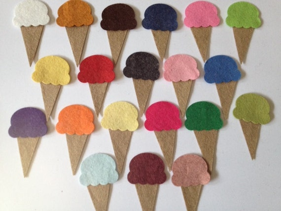 Wool Felt Ice Cream Cone Die Cut - 40 Total Piece Set - Random Colors. 1217