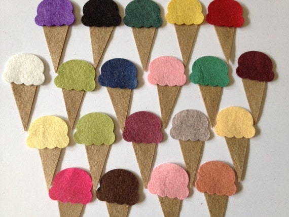 Wool Felt - 40 Total Piece Set - Ice Cream Cone Set of Random Colors. 1218