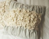 Ruffled Decorative Pillow in Ivory and Light Grey Texture 16x16 Made to order.