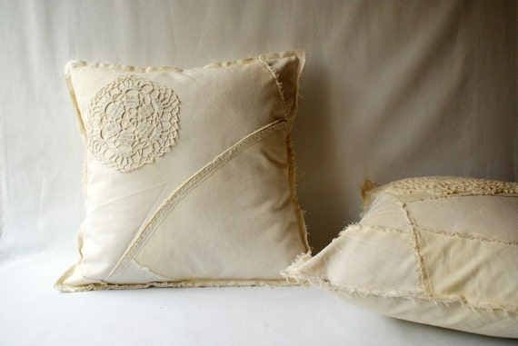 Shabby Chic Decorative Pillows : Off white shabby chic pillow decorative pillow with by annakrycz