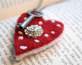 key to my heart felted wool necklace