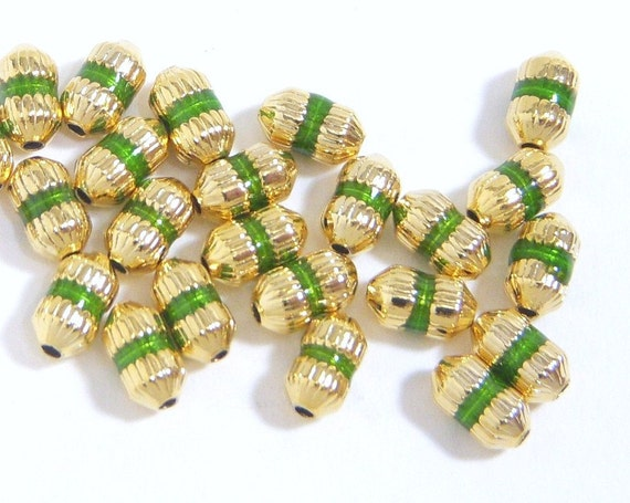Bead, Gold Plated, Green Accents, Oval 8x4.5mm - 20 each D125