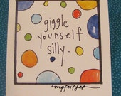 giggle yourself silly - mini art print - polka dots watercolor