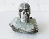 Ocean Space Jasper Skull Crystal- on India Crystal Geode OOAK