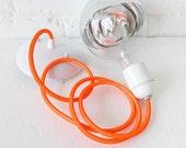 Neon Orange Net Color Cord Hanging Pendant Light w/ Giant Silver Bowl Bulb