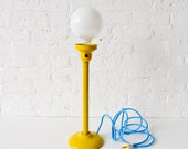 Antique London Lamp Post  w/ Frosted Light Bulb w/ Baby Blue Color Cord