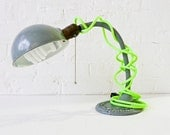 RESERVED - Vintage Industrial Gooseneck Desk Lamp w/ Neon Yellow Green Color Cord