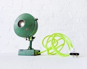 10% SALE - Antique Industrial Green Spotlight Lamp w/ Neon Yellow Net Color Cord- Steampunk