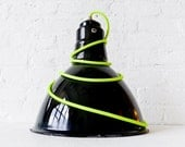 Pendant Light - Vintage Industrial Gas Station Factory Lighting with Neon Yellow Net Color Cord - EarthSeaWarrior
