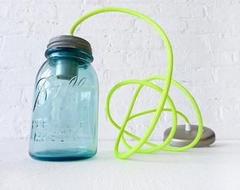 Vintage Mason Ball Jar Pendant w/ Neon Yellow Net Color Cord