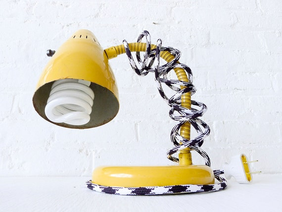 15% SALE - Vintage Industrial Yellow Gooseneck Desk Lamp with Houndstooth Color Cord