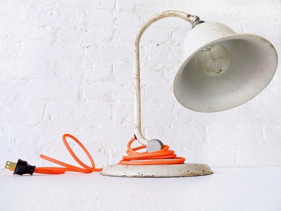 Vintage Rusted Bell shade Lamp w/ Neon Orange Color Cord