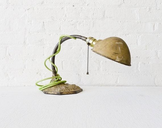 RESERVED for Ralph - Vintage Desk Lamp - Gooseneck Light  w Moon Surface Base w/ Lime Green Net Color Cord