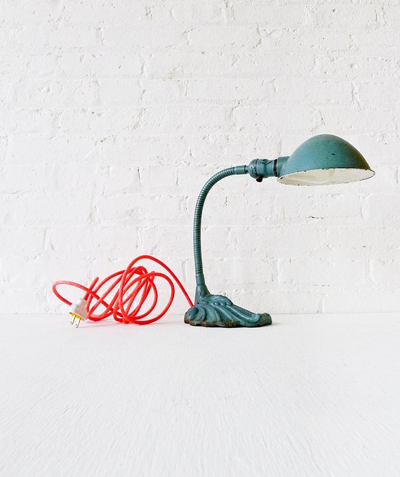 Industrial Lighting - Vintage Gooseneck Desk Lamp w/ Neon Orange Pink Color Cord