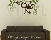 MONKEY VINES Jungle - Vinyl Wall Art Decal - TWO COLOR - Size 22 x 40 inches