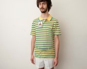 Dead stock  vintage striped polo shirt yellow green blue