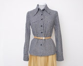 Navy Blue checked shirt blouse NOS Vintage size S