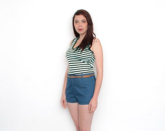 Green and white striped sleeves tank NOS vintage size S to L