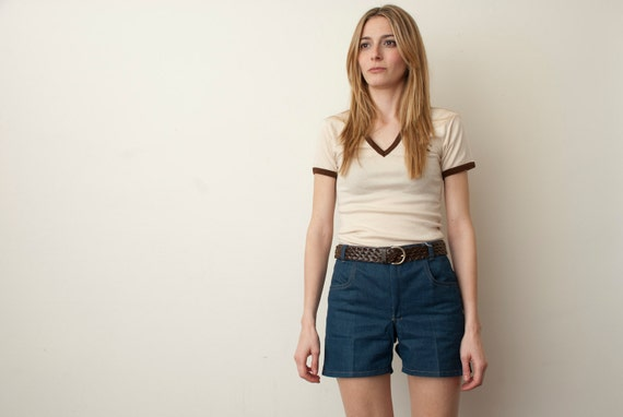 70s V neck cream  and brown NOS vintage Tshirt