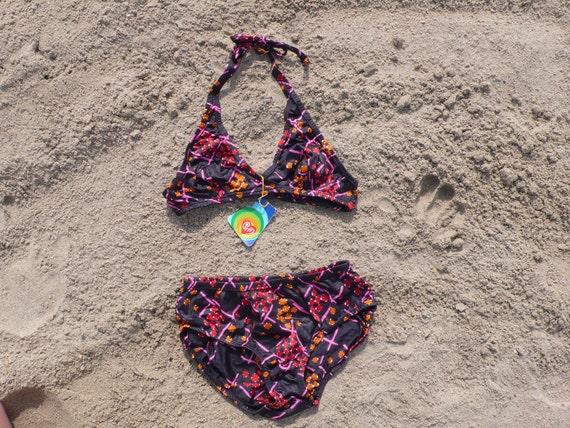 NOS Vintage bikini Size XS black patterned 70s