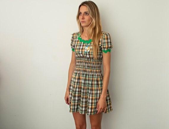 mini dress plaid brown green 70s size XS Dead stock Vintage