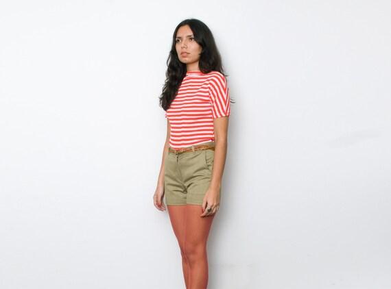 NOS Vintage 60's Khaki Green Denim Shorts size S