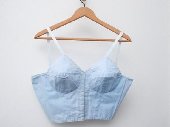 sale 1950 blue bullet bra long line bra bombshell dead stock Vintage