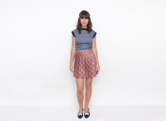 80s Blue geometric cut tshirt NOS vintage XS
