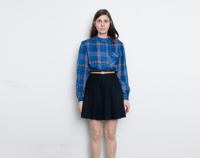 NOS Vintage  Blue Plaid blouse puffed long sleeves size M