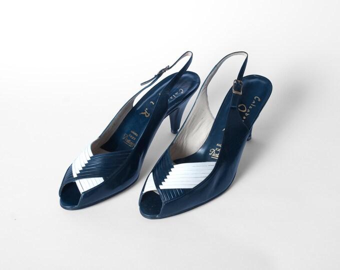 Size 10 Leather Slingback peeptoe Pumps Heels Sandals Dead Stock Vintage