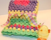 Springtime  multicolored small crocheted blanket