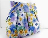 Large Library Bag, Craft Tote, Large Purse, Floral Pattern, Blue and White, Large Bag, Shoulder Bag, Handmade Accessory, Overnight Bag