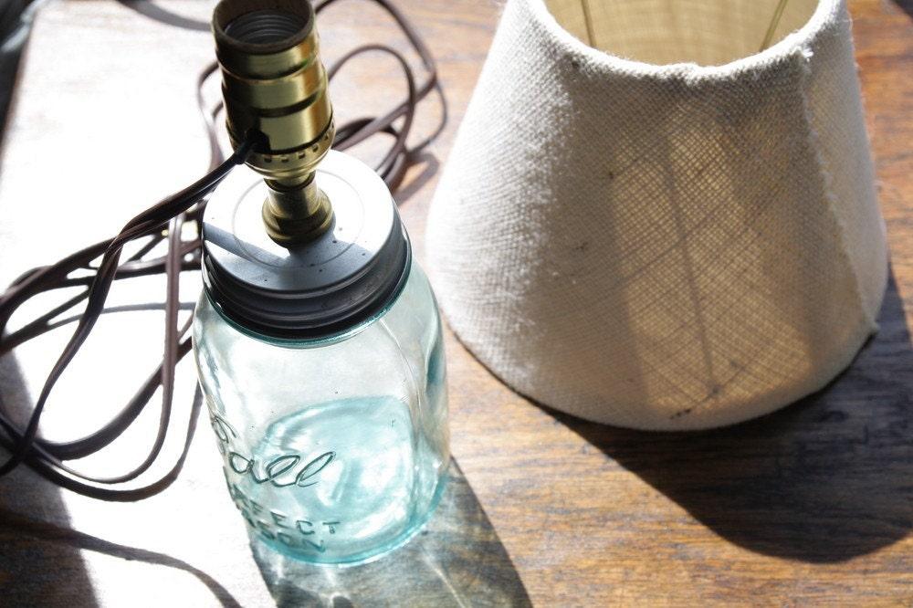 blue ball mason jar lamp with burlap lamp shade. Black Bedroom Furniture Sets. Home Design Ideas