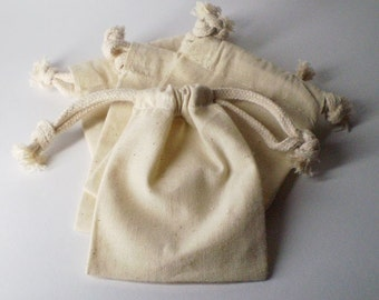 Forty Eight (48) 3 x 4 Natural Drawstring Muslin Bags