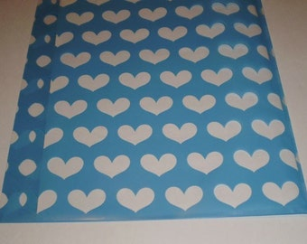 100 - 5x8 BLUE with Clear Hearts printed Cello BAGS