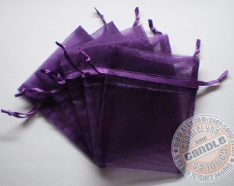 10  PURPLE 3x4 Sheer Organza Bags - Party favors, jewelry, gifts, sachets and much, much more
