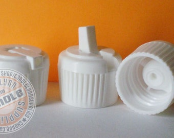 6 - 24/410 White Flip Top Lids for Most 4, 8 and 16 oz HDPE Bottles