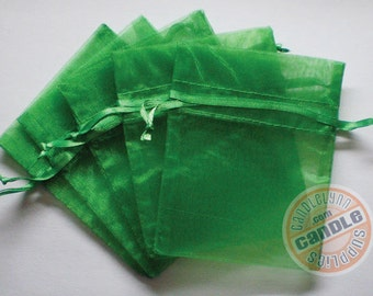 30 EMERALD GREEN 3x4 Sheer Organza Bags - Party favors, jewelry, gifts, sachets and much, much more