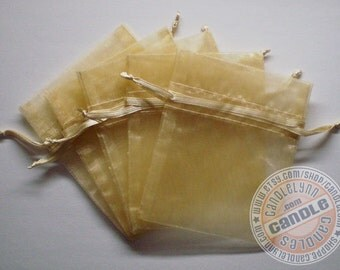 30 TOFFEE 3x4 Sheer Organza Bags - Party favors, jewelry, gifts, sachets and much, much more