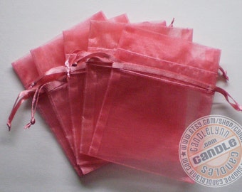 10 ROSE PINK 3x4 Sheer Organza Bags - Party favors, jewelry, gifts, sachets and much, much more