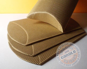 20 Corrugated Kraft Pillow Boxes - 3 7/8 X 3 7/8 X 1 3/8